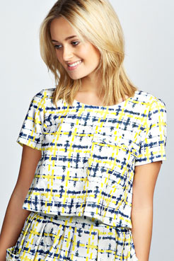 Adele Woven Yellow & Blue Checked Box Top at boohoo.com