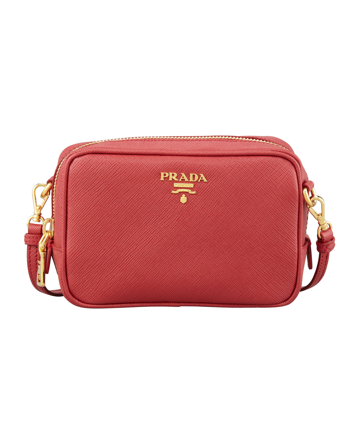 Prada Saffiano Mini Zip Crossbody Bag, Red (Fuoco)