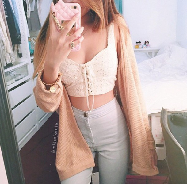 jeans crop tops t-shirt blue pants skirt blouse shirt cardigan style fashion top white crop tops lace up