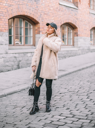 coat tumblr nude coat teddy bear coat denim jeans black jeans skinny jeans ripped jeans boots black boots bag hat cap