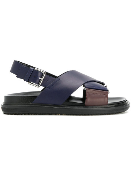 MARNI women sandals leather blue shoes
