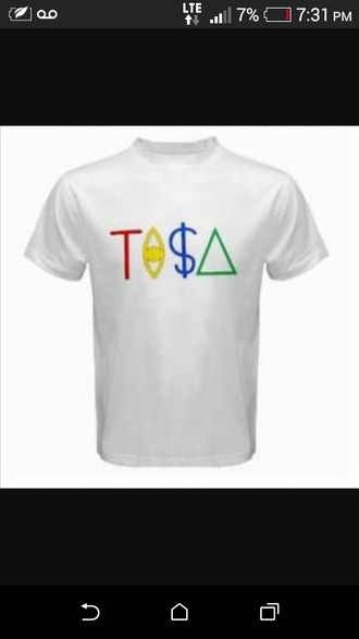 shirt white cool colorful tisa illuminati evil eye dolla sign triangle