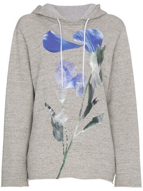 hoody women floral cotton grey sweater
