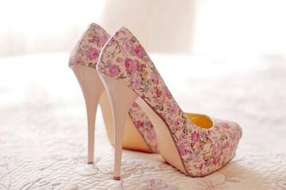 pink cute romantic floral shoes girly roses nude heels floral print shoes high heels platform shoes platform high heels flower print flower shoes princess liberty kawaii fresh spring spring shoes we need them everybody wants