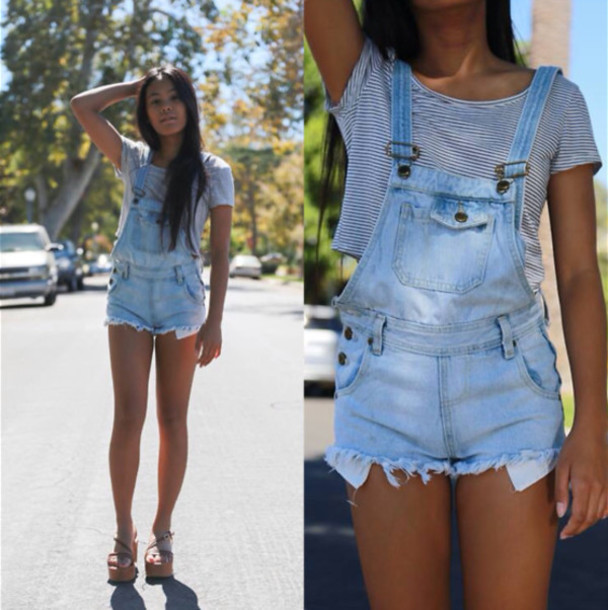 Shorts: denim, acid wash, worn, ripped, overalls, coveralls, short ...