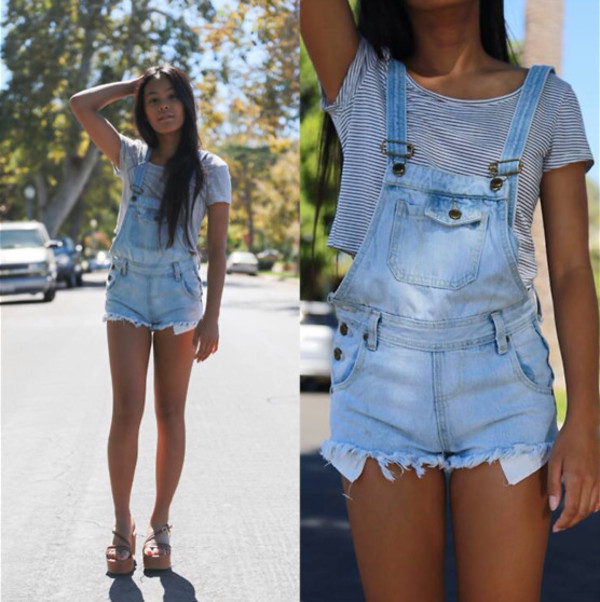 shorts denim acid wash worn ripped overalls coveralls short shorts distressed denim shorts pockets out romper