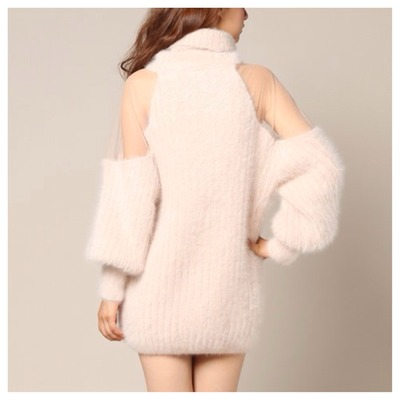 Soft pink sheer shoulder mohair sweater · doublelw · online store powered by storenvy