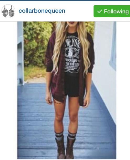 cardigan grunge t-shirt shirt