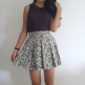 skirt,collared shirts,t-shirt,top,topshop,purple,floral skirt,floral,print,printed skirt,iloveit,happy,barcelona,japan