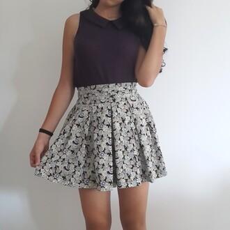 skirt collared shirts t-shirt top topshop purple floral skirt floral print printed skirt iloveit happy barcelona japan