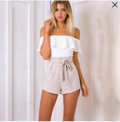 romper,girly,girl,girly wishlist,off the shoulder,white,nude
