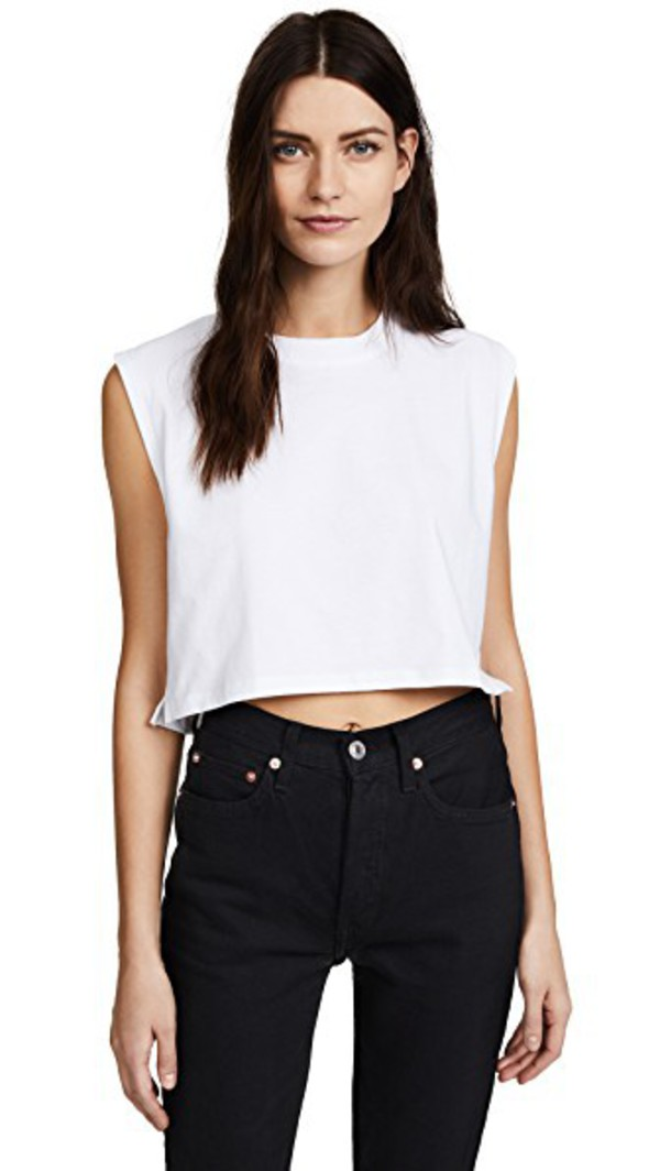 Hanes x Karla The Sleeveless Crop Tee in white