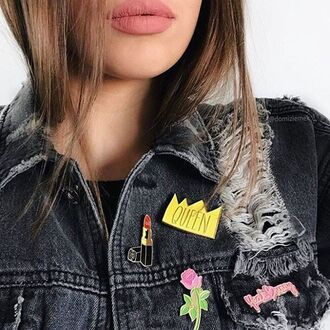 home accessory yeah bunny pins accessories queen lipstick roses denim jacket