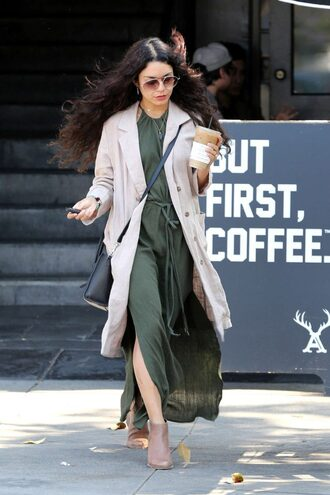 dress slit dress maxi dress spring outfits coat vanessa hudgens ankle boots sunglasses