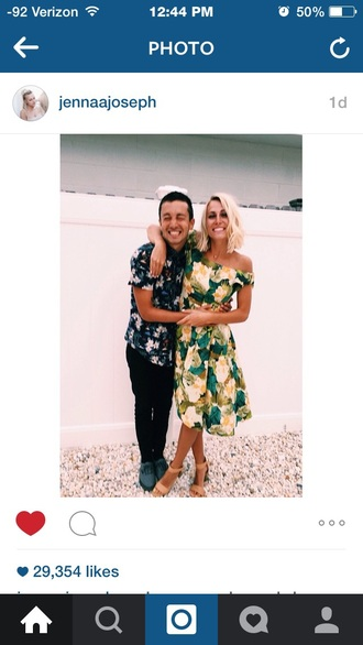 dress yellow floral tyler joseph jenna joseph twenty one pilots off the shoulder dress off the shoulder midi dress floral dress