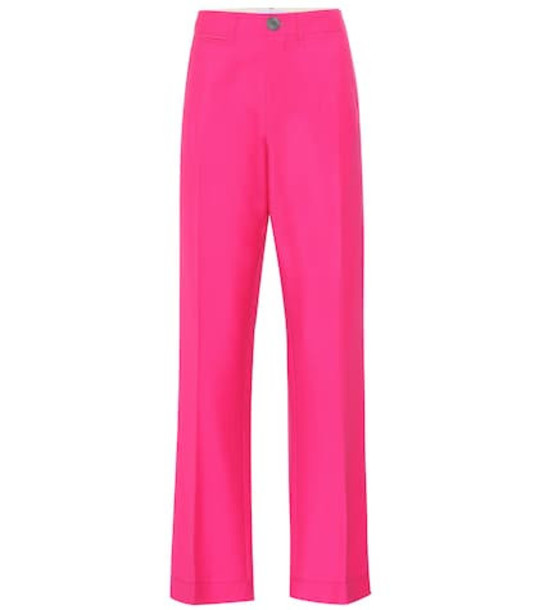 Loewe High-rise wool pants in pink