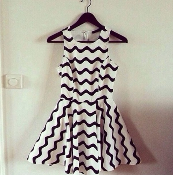 dress stripes black white black and white stripey little black dress
