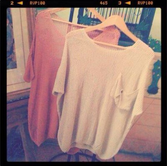 pink and white sweater pocket sweater