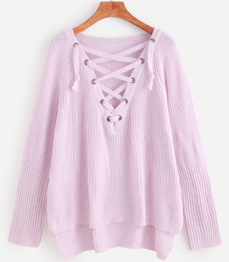 sweater girl girly girly wishlist pink jumper lace up knit knitwear knitted sweater