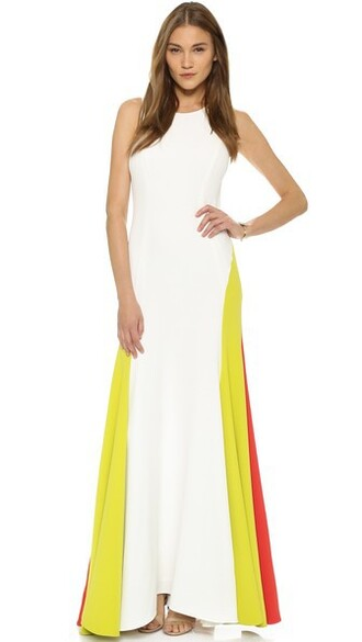 gown colorblock white dress