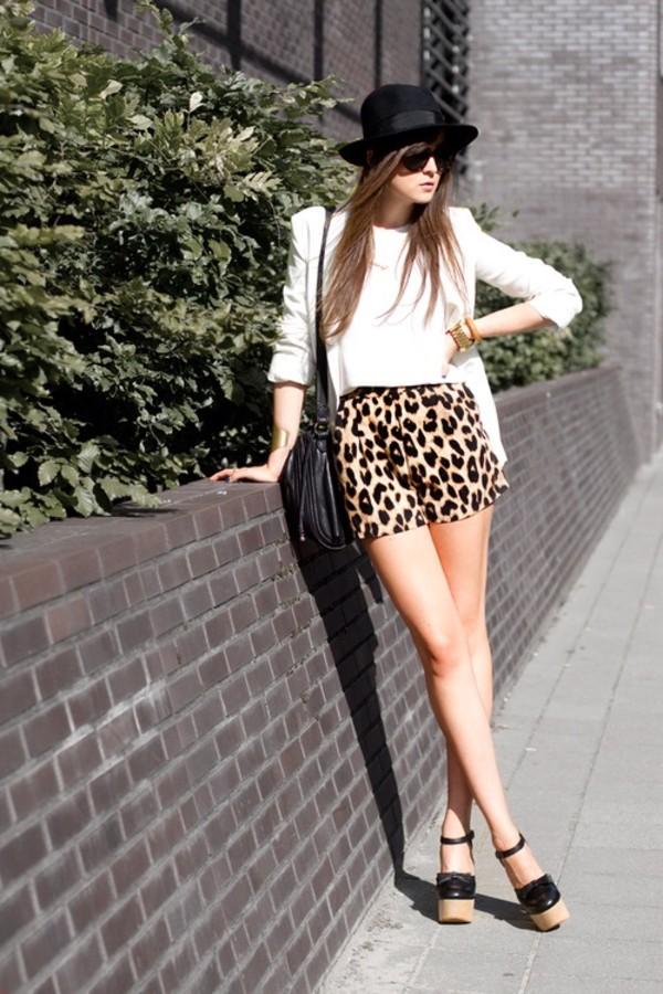 shorts leopard print leopard print