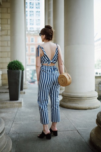 jumpsuit tumblr blue jumpsuit stripes cropped jumpsuit mules shoes bag round bag