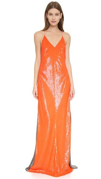 gown sleeveless orange dress