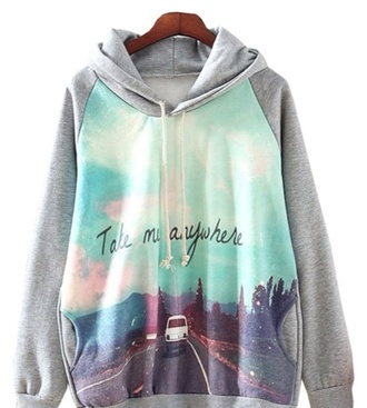 sweater grey hoodie sweatshirt graphic tee car road cute jumper indie california usa take me anywhere oversized sweater quote on it