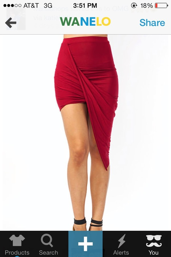 skirt asymmetrical skirt draped skirt summer red