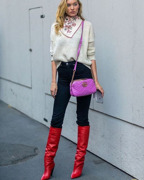 Red Knee High Boots Outfit