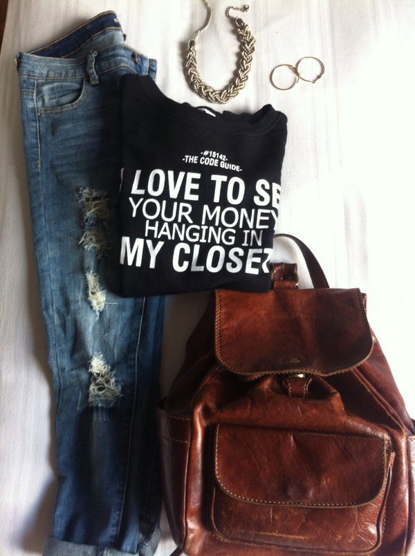 jeans scout jeans ripped jeans leather backpack