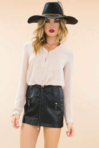 blouse chiffon blouse leather skirt boho hat floppy hat boho boho chic haute & rebellious