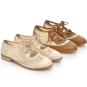 Womens Girls Platform Lace Low Heels Lace Up Creeper Flats Retro Oxfords  Shoes