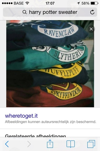 sweater harry potter green bleu red ravenclaw slythering huffelpuff griffindor hogwarts
