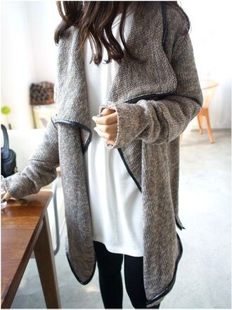 sweater grey jacket leather trim cute sweaters oversized sweater jacket coat grey cotton long sleeves cardigan grey sweater gray sweater oversized caridigan fall sweater fashion style beige leather jacket grey cardigan with leather  trim grey cardigan