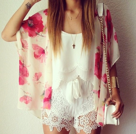 floral pink fashion white girly roses top cardigan kimono help plz red