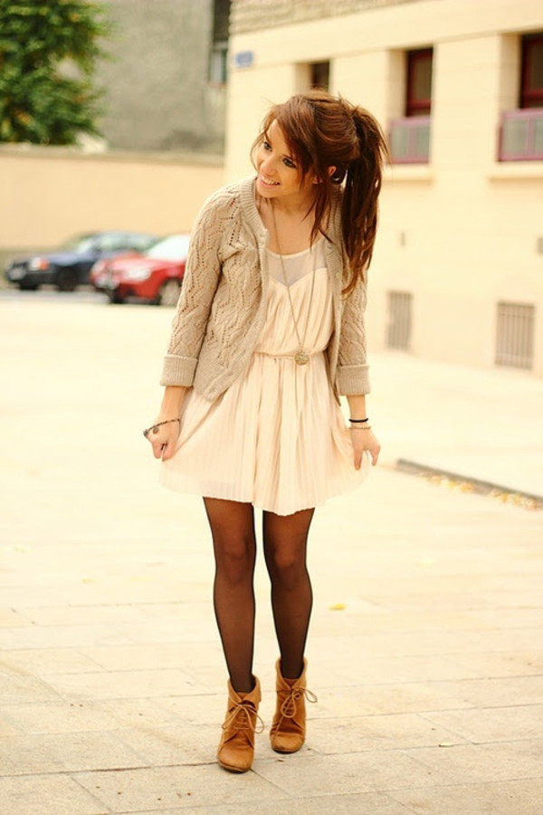 knitted cardigan white dress fall outfits brown shoes fall dress cute outfits cardigan cute style dress beige dress tumblr tumblr outfit beige sweater sweater beige beige jacket cute sweaters girly fall sweater cute cute dress love shoes booties fall outfits winter outfits winter outfits tights chiffon dress chiffon pretty pretty outfit cute outfits casual pink chiffon dress pink pink dress trendy streetstyle beige cardigan cream white skater belt flowy short nude dress