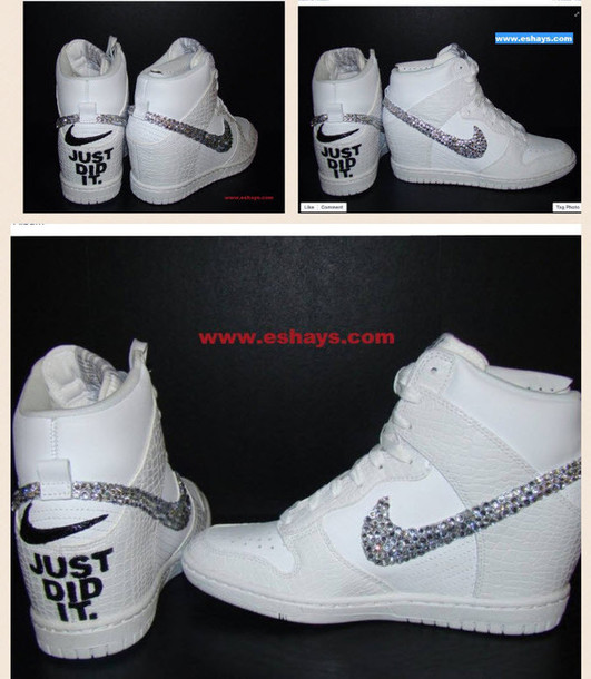 new arrival 19474 10829 shoes wedding sneakers white nike dunks sky hi rhinestone nike shoes just  did it wedding shoes