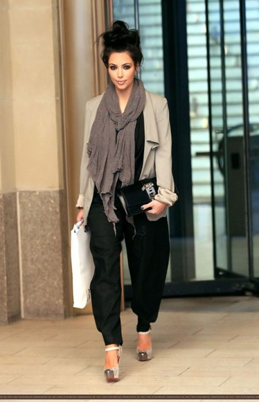 shoes christian louboutin kim kardashian messy bun high heels jacket pants scarf tank top