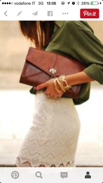 skirt leace white skirt shirt