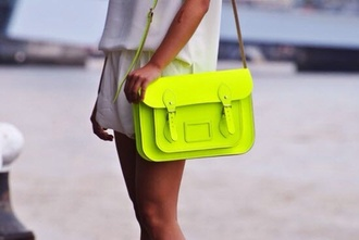 bag satchel lime lime satchel neon bright handbag