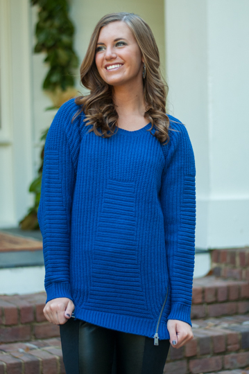 Double zip sweater, royal