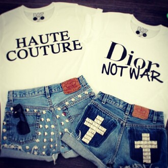 shorts girl hipster frayed shorts frayed 501s high waisted shorts studs studded shorts levi's haute couture dior dior not war batoko www.batoko.com tees t-shirt printed t-shirt quote on it graphic tee fashion fashionista fast fashion crosses sunglasses