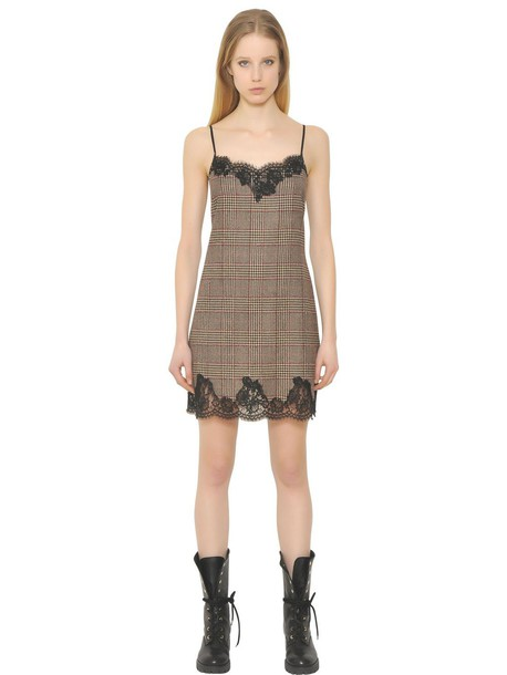 ERMANNO ERMANNO SCERVINO Plaid Wool & Lace Slip Dress in black / brown