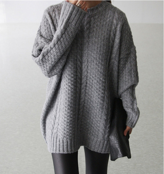 Sweater: grey sweater, knitwear, fall sweater, fall outfits ...