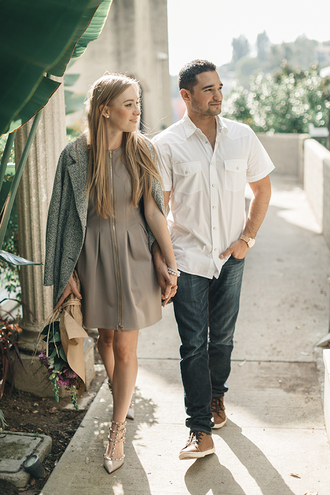 eat sleep wear blogger couple beige dress grey jacket valentino jewels jacket dress shoes
