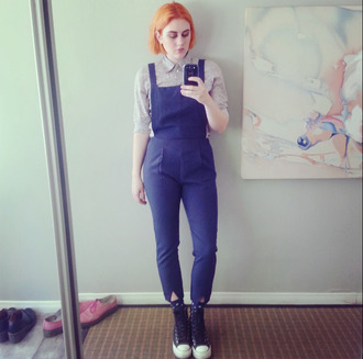 pants overalls top button up shenae grimes shoes socks blue tan