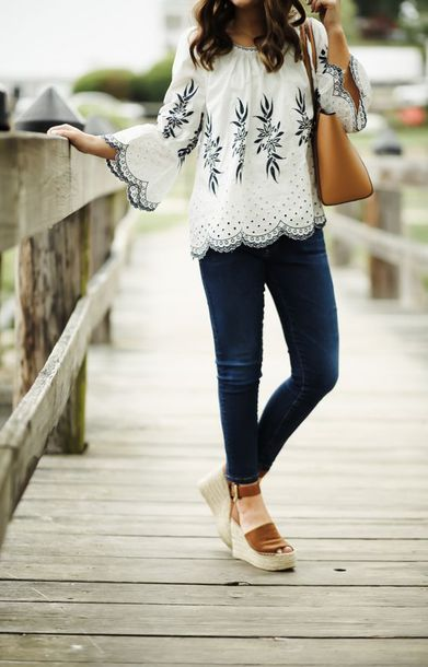 97e83171803 top tumblr long sleeves embroidered bell sleeves denim jeans blue jeans  skinny jeans sandals wedges wedge