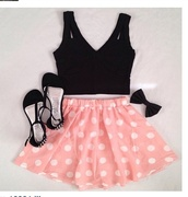 skirt,polka dots,skater skirt,pink,short,blouse,top,shirt,tank top,shoes,jewels,pink skirt,polka,polka dot skirt,cute outfits,cute,pretty,girly,bow,hair bow,summer,outfit,pink and white,fashion,stipped,white,black,crop,crop tops,black top,black heels,black bow,pointe,punkte,flirty,summer outfits,pastel skirt,dress,hair accessory,gloves,black crop top,pink white dotted skirt