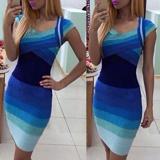 dress blue fashion bandage dress sexy sweetheart neck ombre short sleeve dress for women cool sexy party summer gradient ombre rosegal-dec